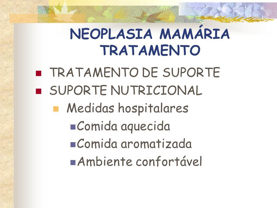 NEOPLASIA MAMÁRIA TRATAMENTO TRATAMENTO DE SUPORTE SUPORTE NUTRICIONAL Estimulantes do apetite Ciproheptadina 1 a 2 mg/gato, PO, SID ou BID Diazepam 0,05 a 0,1 mg/kg, IV
