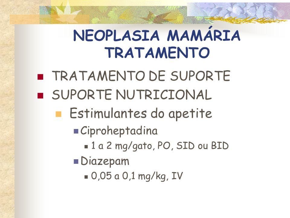NEOPLASIA MAMÁRIA TRATAMENTO TRATAMENTO DE SUPORTE SUPORTE NUTRICIONAL Alimentação por sonda Nasogástrica Esofagostomia Gastrostomia
