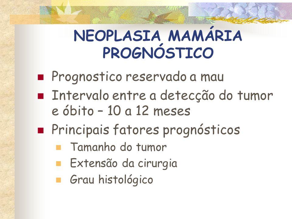 NEOPLASIA MAMÁRIA PROGNÓSTICO Tempo médio de sobrevida X tamanho do tumor > 3 cm – 4 a 12 meses 2 a 3 cm – 15 a 24 meses < 2 cm – mais de 3 anos