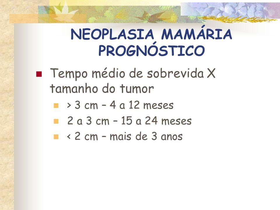 NEOPLASIA MAMÁRIA PROGNÓSTICO Presença de metástases X sobrevida Gatos com mastectomia + doxorrubicina Metástases pulmonares – 331 dias Metástases em linfonodos – 1500 dias Novosad et al, J Am Anim Hosp Ass, 2005