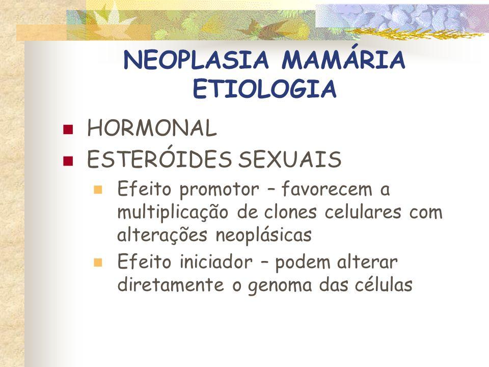 NEOPLASIA MAMÁRIA ETIOLOGIA HORMONAL ESTERÓIDES SEXUAIS Receptores específicos no citoplasma – ER e PR Mais abundantes no tecido normal, hiperplasias e neoplasias benignas Reduzidos nas lesões malignas (indiferenciadas) Metástases - ausentes