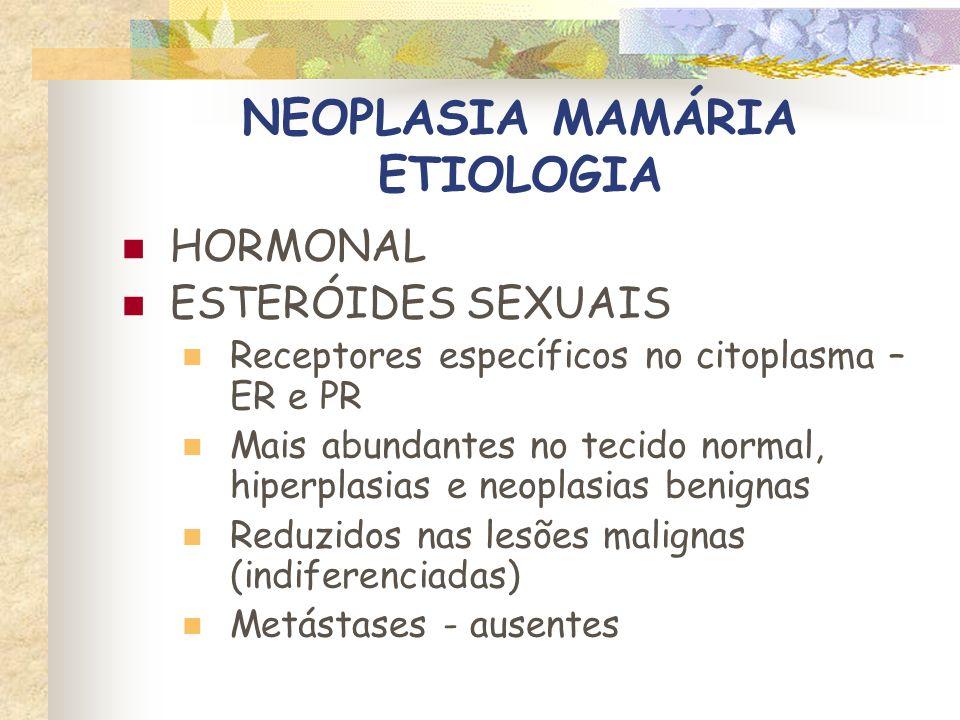 NEOPLASIA MAMÁRIA ETIOLOGIA HORMONAL ESTERÕIDES SEXUAIS Padrão semelhante ao carcinoma mamário hormonio-independente de humanos Super-expressão de gen HER2-neu Observada em 10 a 40% carcinomas humanos e 59% dos felinos Associado a redução na sobrevida