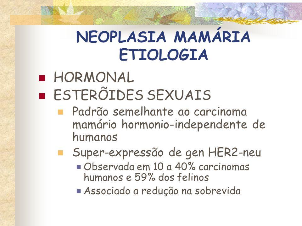 NEOPLASIA MAMÁRIA FATORES DE RISCO FATORES HORMONAIS CASTRAÇÃO Efeito benéfico menos reconhecido que na cadela Gatas castradas ate 6 meses – 7X menor risco Dorn et al, J Natl Cancer Inst, 1968