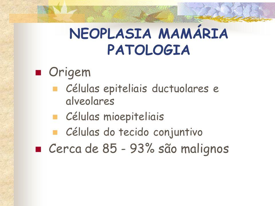 NEOPLASIA MAMÁRIA PATOLOGIA Tumores benignos com atipia – lesões pré-cancerosas CUIDADO !!.
