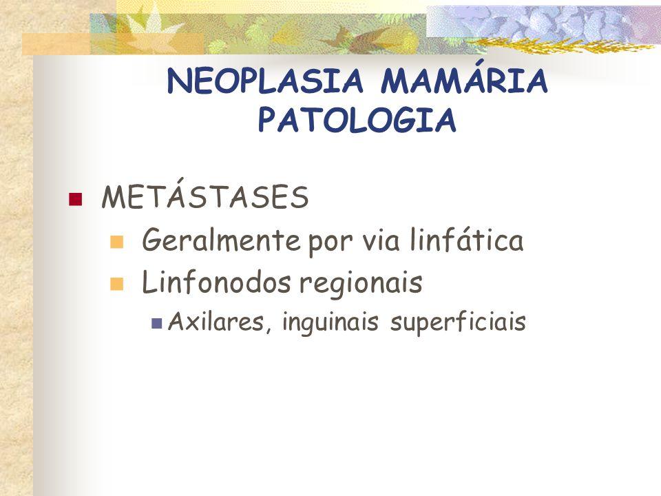 NEOPLASIA MAMÁRIA PATOLOGIA METÁSTASES Metástases à distância Pulmões, pleura (carcinomatose) Linfonodos esternais Fígado Ossos Outros: baço, rins, adrenais, peritônio, coração