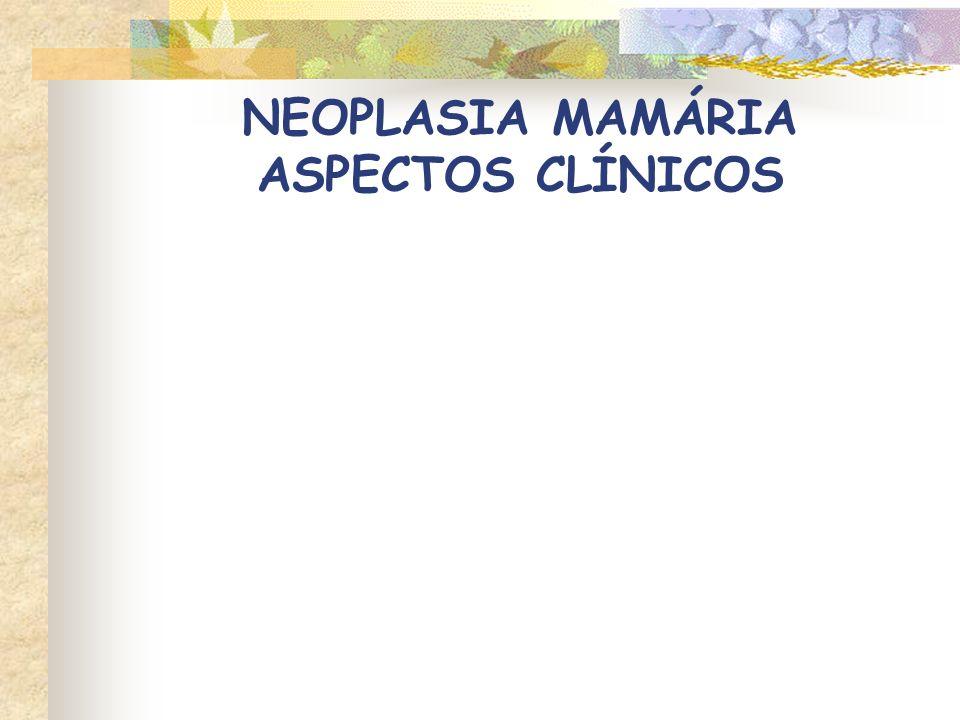 Neoplasias benignas Tumores pequenos, bem circunscritos Firmes à palpação Neoplasias malignas Crescimento rápido, bordas mal-definidas Fixação à pele ou tecidos subjacentes (fáscia) Ulceração e/ou inflamação