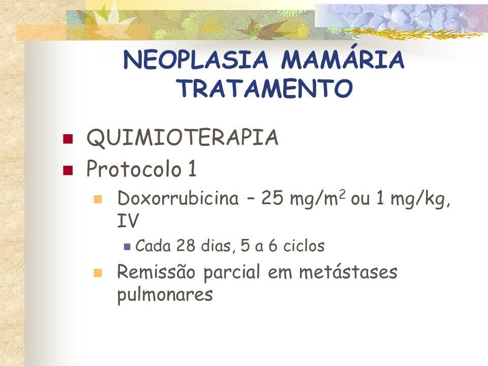 NEOPLASIA MAMÁRIA TRATAMENTO QUIMIOTERAPIA Protocolo 2 Doxorrubicina – 25 mg/m 2 ou 1 mg/kg, IV Ciclofosfamida – 200 –250 mg/m 2, IV ou PO Cada 28 dias, 5 a 6 ciclos
