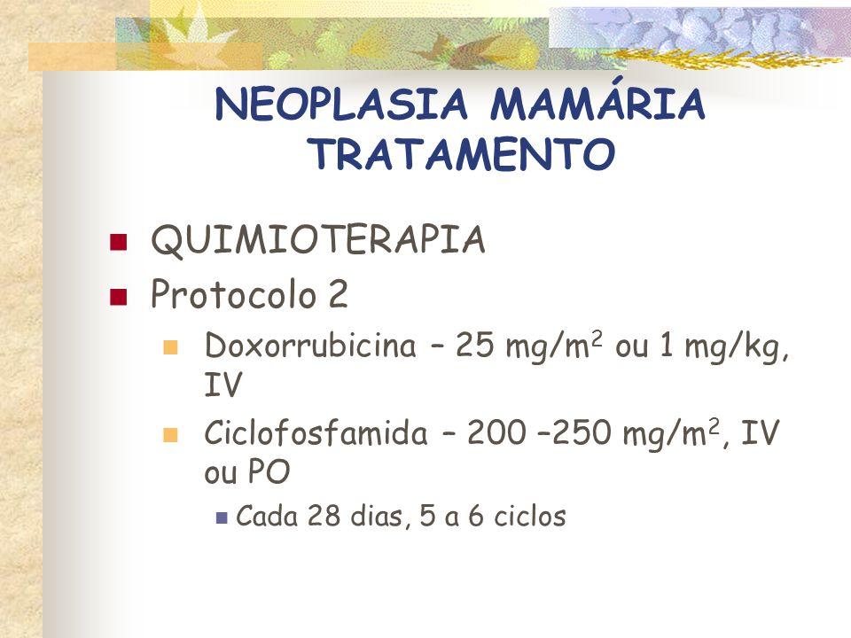 NEOPLASIA MAMÁRIA TRATAMENTO DOXORRUBICINA Toxicidade Anafilaxia – infusão lenta (0,5 mL/min) Órgãos de choque: pele e GI (cães), pulmões (gatos) Necrose tecidual (vesicante) Mielossupressão, efeitos GI e alopecia