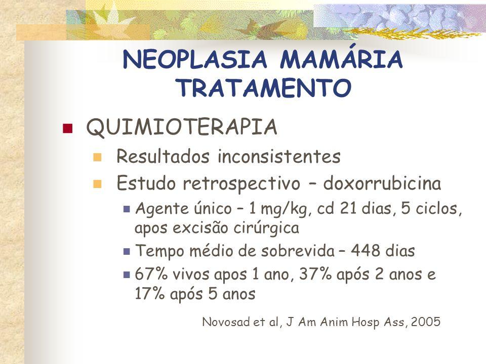 NEOPLASIA MAMÁRIA TRATAMENTO Protocolo 3 Vincristina – 0,5 mg/m 2, IV, 1 vez / semana Ciclofosfamida – 50 mg/m 2, PO, cd 48 h Metrotexato – 2,5 a 5 mg/m 2, PO, 2 a 3 vezes/semana