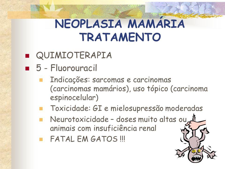 NEOPLASIA MAMÁRIA TRATAMENTO RADIOTERAPIA Pouco estudada em felinos Indicada para controle de recidivas locais e tumores inoperáveis