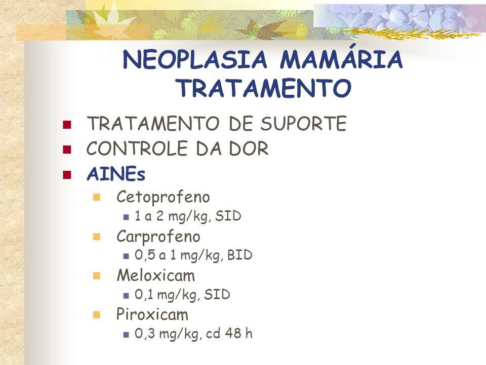 NEOPLASIA MAMÁRIA TRATAMENTO TRATAMENTO DE SUPORTE CONTROLE DA DOR OPIÓIDES AGONISTAS Codeína 0,3 a 0,5 mg/kg, BID Tramadol 1 a 2 mg/kg, BID ou TID Fentanil Adesivo transdérmico 2,5 mg – 25 g/h (trocar a cada 3 a 5 dias)