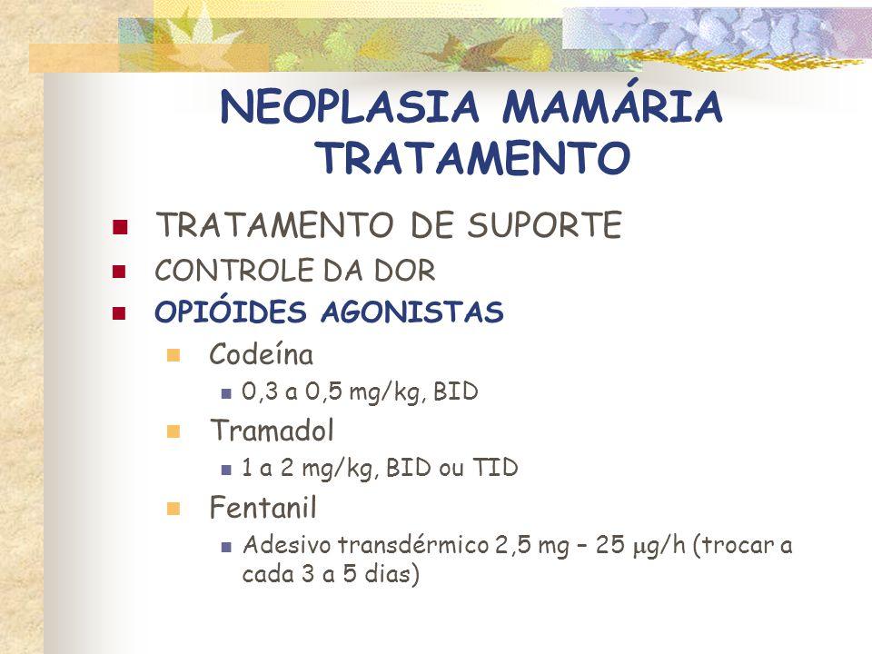 NEOPLASIA MAMÁRIA TRATAMENTO TRATAMENTO DE SUPORTE CONTROLE DA DOR OPIÓIDES AGONISTAS Morfina 0,1 – 0,5 mg/kg, cd 2 – 6 h, IM ou SC 0,05 – 0,2 mg/kg, cd 1 – 4 h, IV Oximorfona 0,02 – 0,05 mg/kg, cd 2 – 4 h, IV 0,05 – 0,2 mg/kg, cd 2 – 6 h, IM ou SC