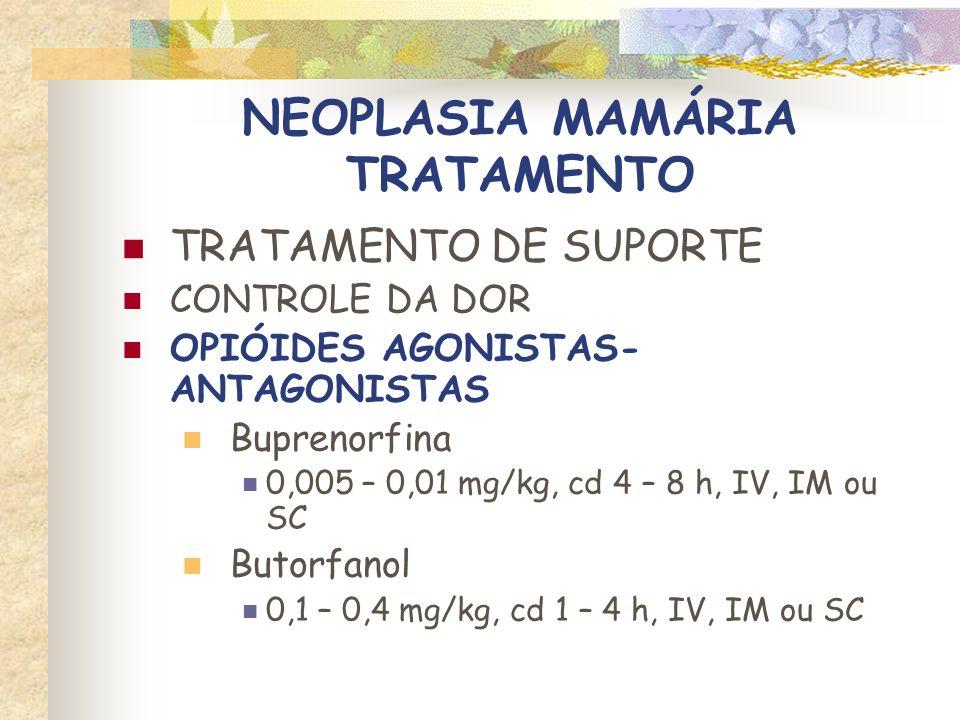 NEOPLASIA MAMÁRIA TRATAMENTO TRATAMENTO DE SUPORTE CONTROLE DA NÁUSEA E VÔMITO Metoclopramida 1 a 2 mg/kg/d (infusão contínua) 0,2 a 0,4 mg/kg, IM ou SC, TID 0,2 a 0,6 mg/kg, PO, TID Ondansetrona 0,1 mg/kg, IV, BID