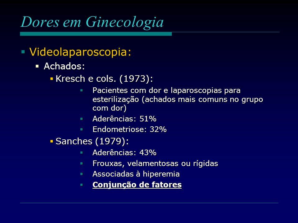 Dores em Ginecologia Videolaparoscopia: Videolaparoscopia: Achados: Achados: Kresch e cols. (1973): Kresch e cols. (1973): Pacientes com dor e laparos