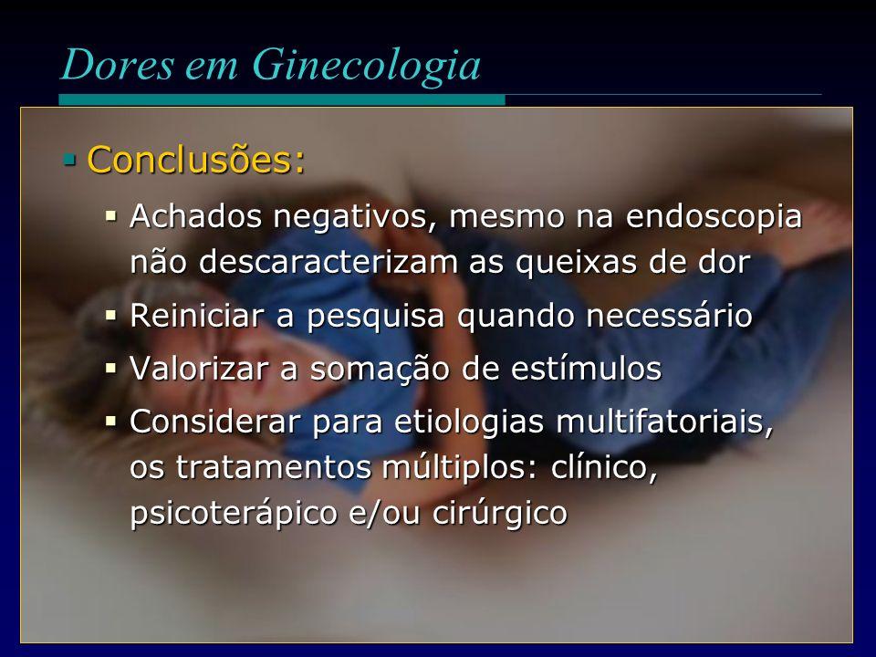 Conclusões: Conclusões: Achados negativos, mesmo na endoscopia não descaracterizam as queixas de dor Achados negativos, mesmo na endoscopia não descar