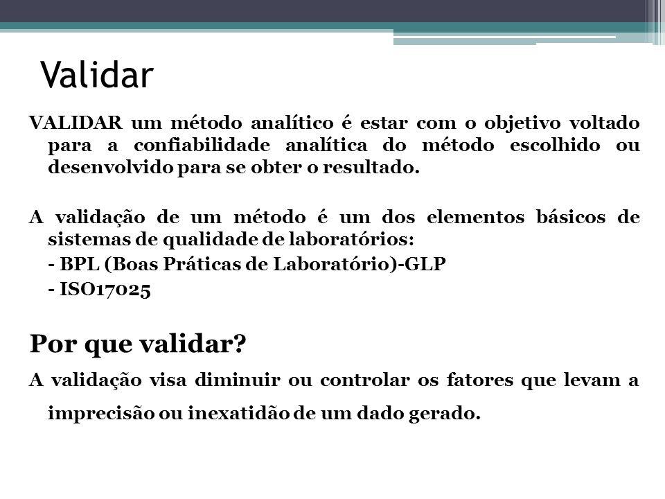 Validar VALIDAR um método analítico é estar com o objetivo voltado para a confiabilidade analítica do método escolhido ou desenvolvido para se obter o
