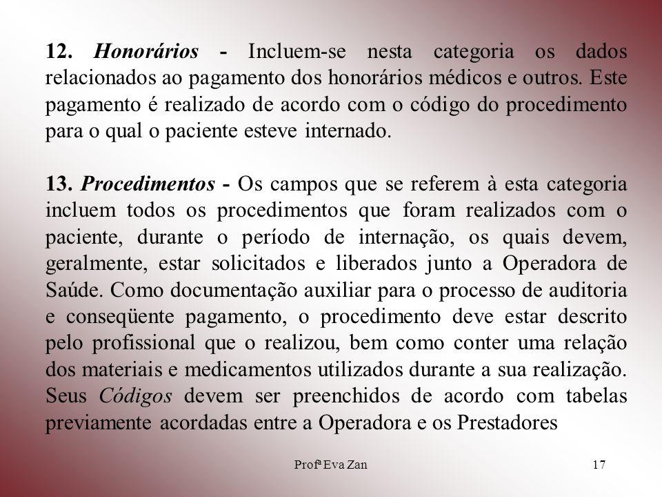 Profª Eva Zan18 14.Valores Referenciais - São valores que incluem os custos de toda a internação.