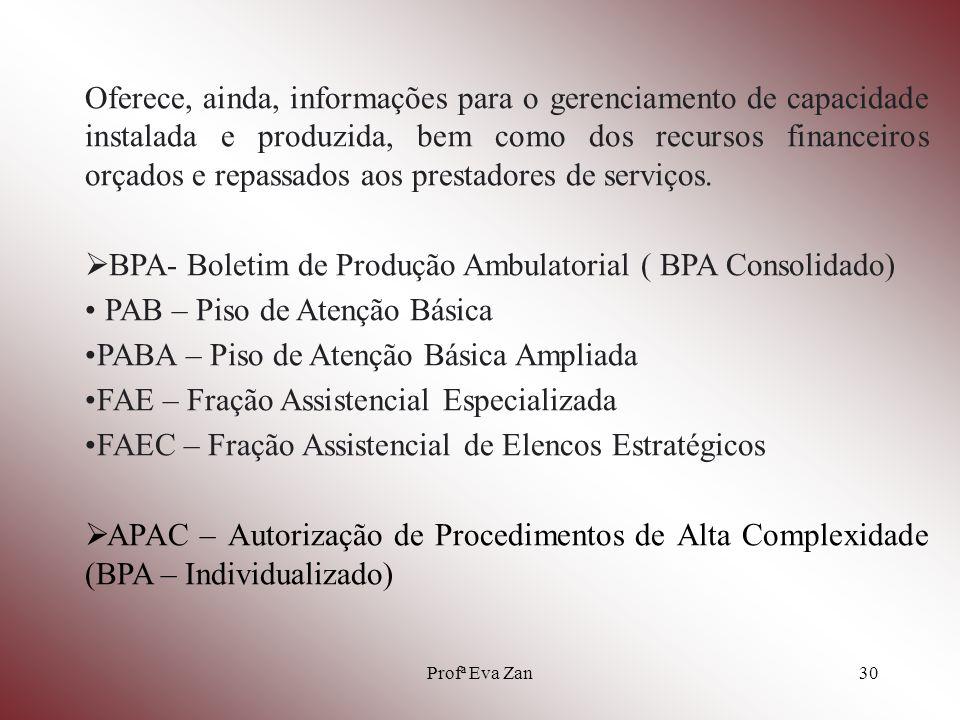 Profª Eva Zan31 CADSIA – Programa de emissão de relatórios, fornece principalmente a FCA e FPO de uma unidade ou mantenedora para uma determinada competência, substituído pelo CNES.