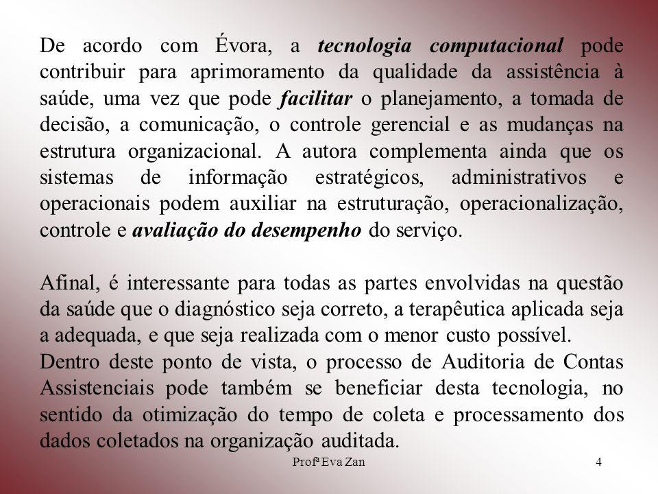 Profª Eva Zan5 TIPOS DE AUDITORIA EM SAÚDE - Auditoria Operacional Trabalha por comparação do nível de assistência prestada VERSUS padrões de assistência aceitáveis.