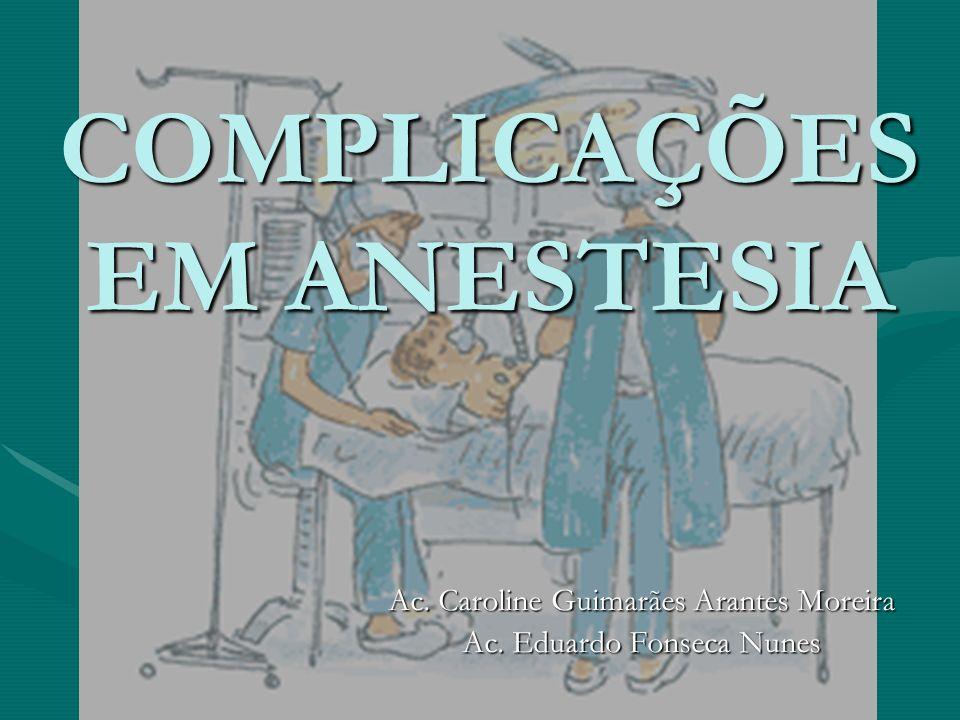 COMPLICAÇÕES EM ANESTESIA Ac. Caroline Guimarães Arantes Moreira Ac. Eduardo Fonseca Nunes