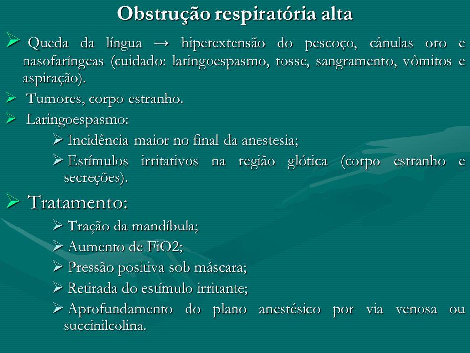 Obstrução respiratória alta Queda da língua hiperextensão do pescoço, cânulas oro e nasofaríngeas (cuidado: laringoespasmo, tosse, sangramento, vômito