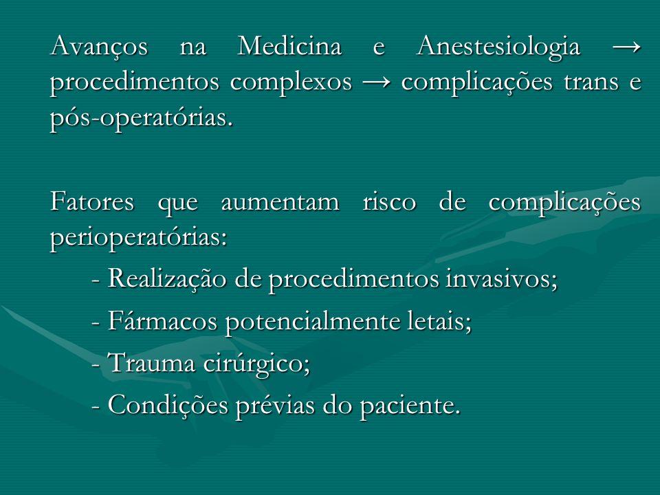 Avanços na Medicina e Anestesiologia procedimentos complexos complicações trans e pós-operatórias. Fatores que aumentam risco de complicações perioper