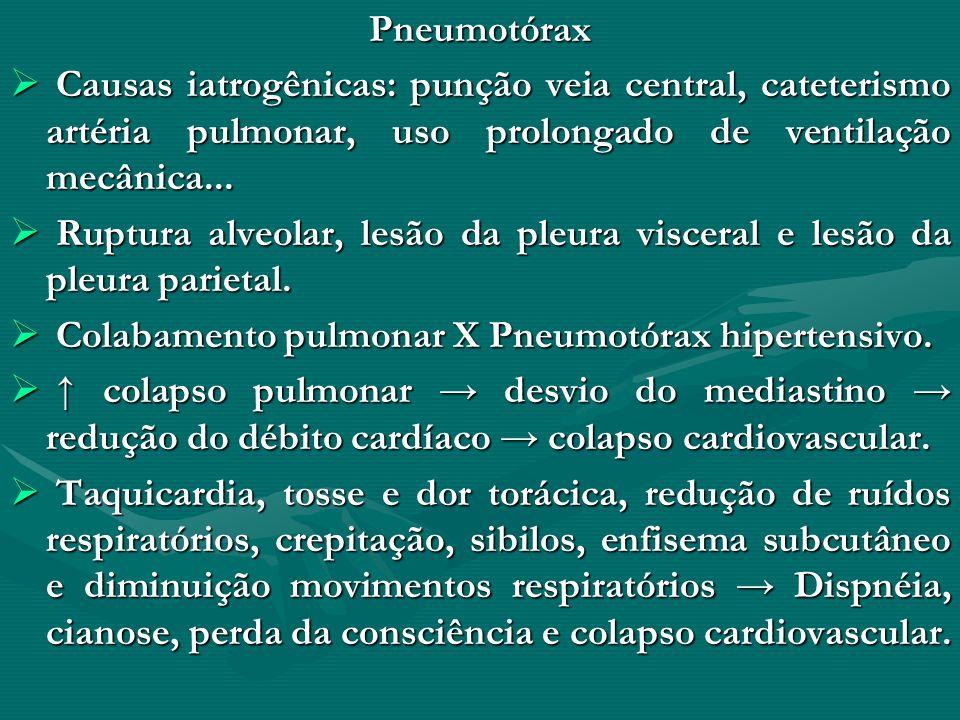 Pneumotórax Causas iatrogênicas: punção veia central, cateterismo artéria pulmonar, uso prolongado de ventilação mecânica... Causas iatrogênicas: punç