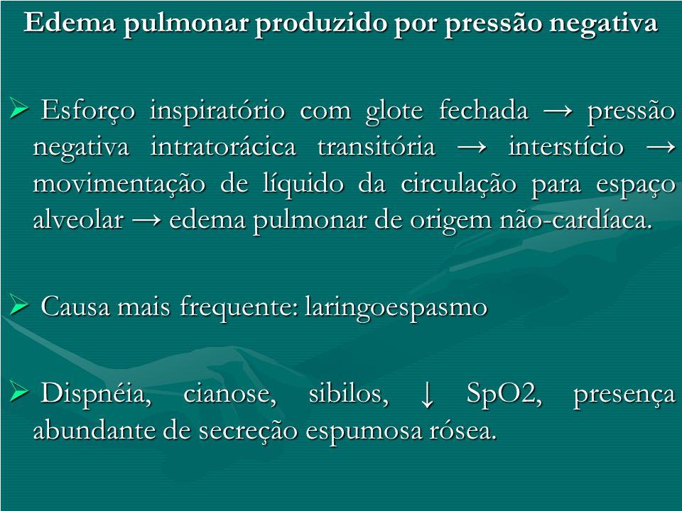 Edema pulmonar produzido por pressão negativa Esforço inspiratório com glote fechada pressão negativa intratorácica transitória interstício movimentaç