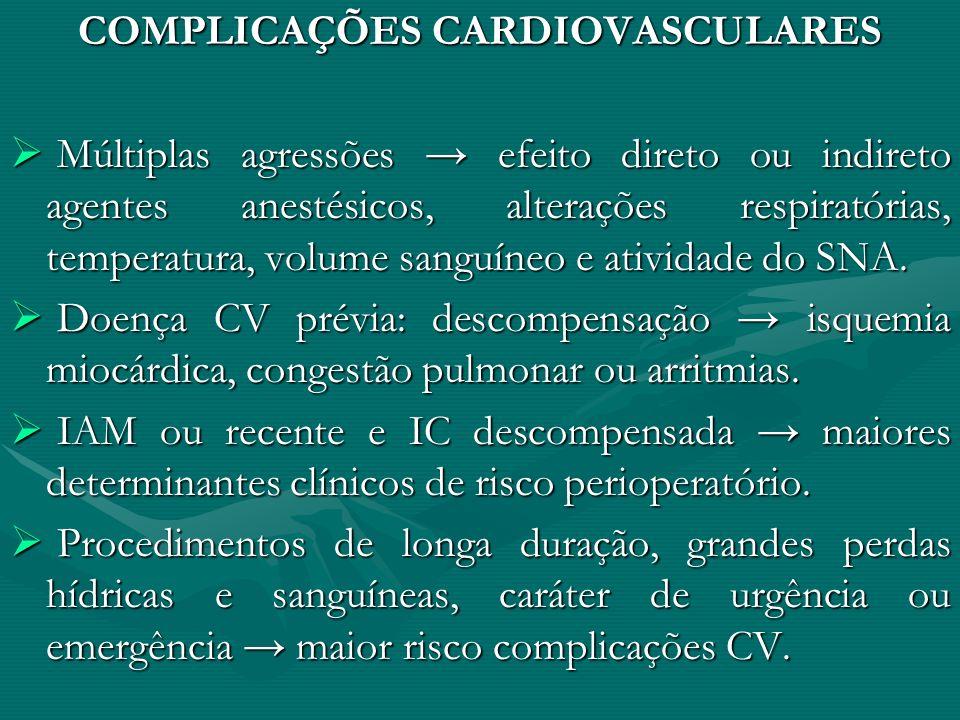 COMPLICAÇÕES CARDIOVASCULARES Múltiplas agressões efeito direto ou indireto agentes anestésicos, alterações respiratórias, temperatura, volume sanguín