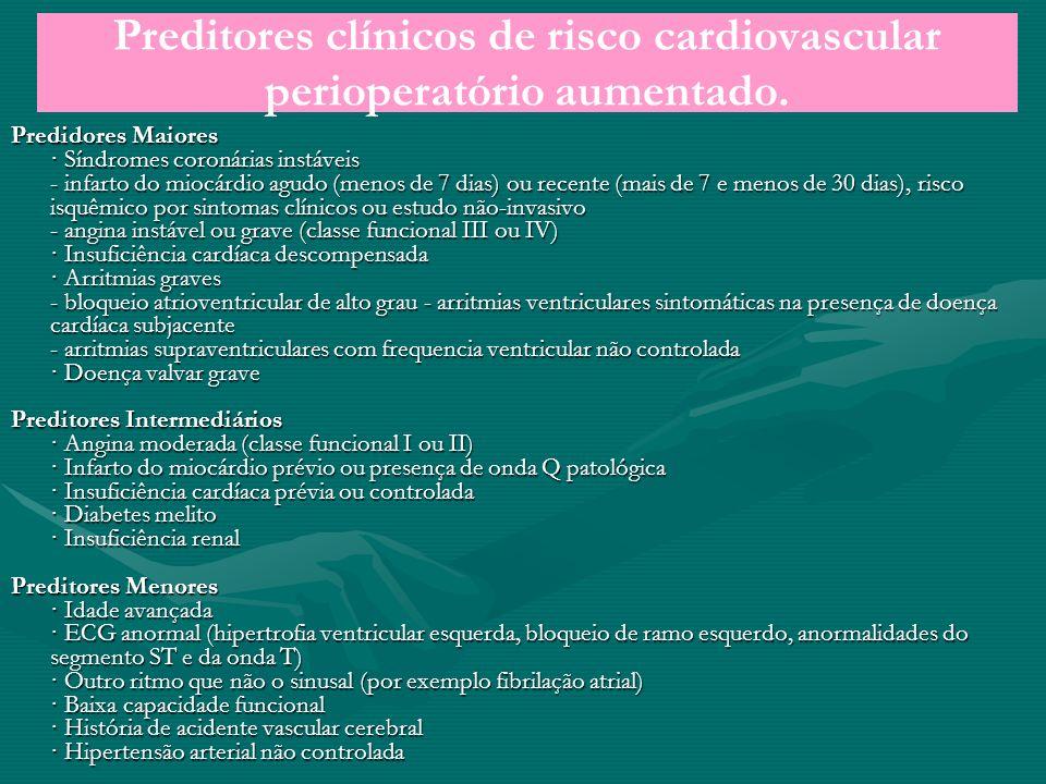 Preditores clínicos de risco cardiovascular perioperatório aumentado. Predidores Maiores · Síndromes coronárias instáveis - infarto do miocárdio agudo