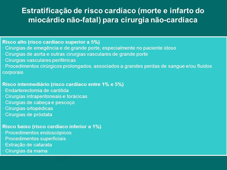 Estratificação de risco cardíaco (morte e infarto do miocárdio não-fatal) para cirurgia não-cardíaca Risco alto (risco cardíaco superior a 5%) · Cirur