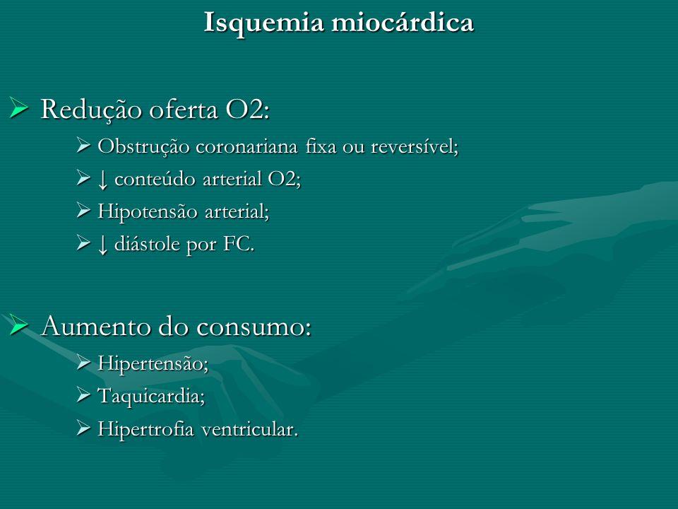 Isquemia miocárdica Redução oferta O2: Redução oferta O2: Obstrução coronariana fixa ou reversível; Obstrução coronariana fixa ou reversível; conteúdo