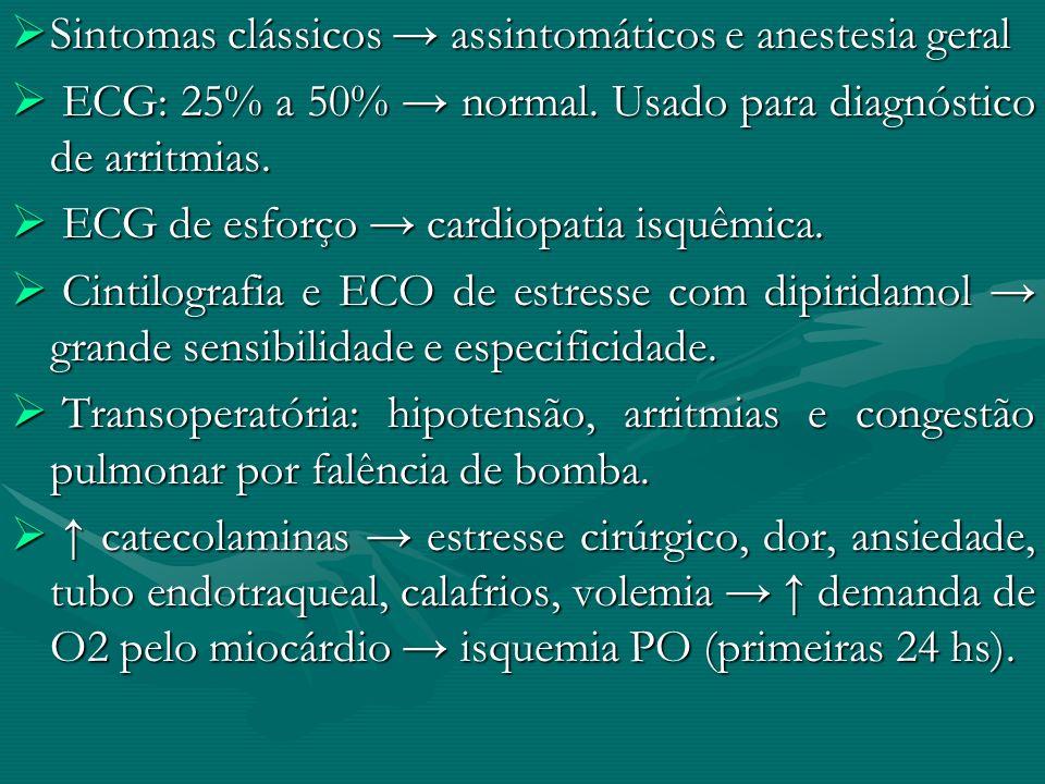 Sintomas clássicos assintomáticos e anestesia geral Sintomas clássicos assintomáticos e anestesia geral ECG: 25% a 50% normal. Usado para diagnóstico