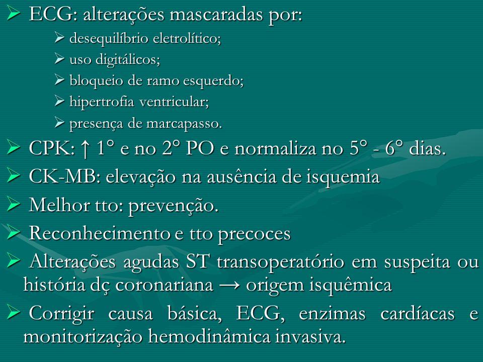 ECG: alterações mascaradas por: ECG: alterações mascaradas por: desequilíbrio eletrolítico; desequilíbrio eletrolítico; uso digitálicos; uso digitálic