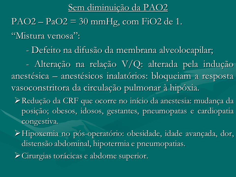 Sem diminuição da PAO2 PAO2 – PaO2 = 30 mmHg, com FiO2 de 1. Mistura venosa: - Defeito na difusão da membrana alveolocapilar; - Alteração na relação V