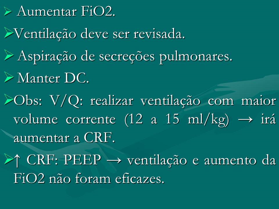 Aumentar FiO2. Aumentar FiO2. Ventilação deve ser revisada. Ventilação deve ser revisada. Aspiração de secreções pulmonares. Aspiração de secreções pu
