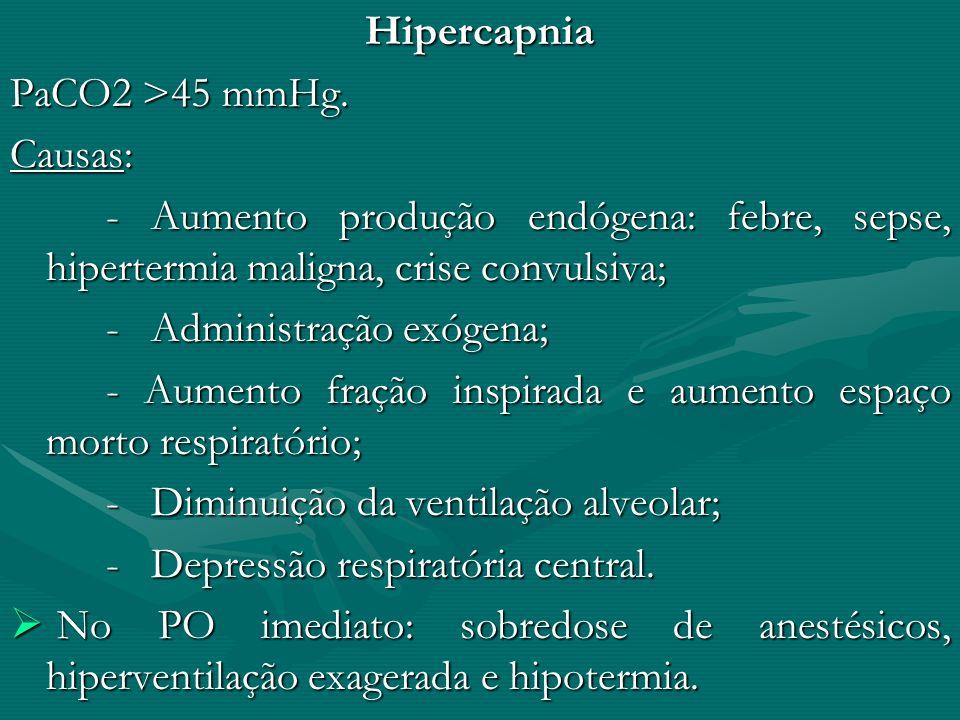 Hipercapnia PaCO2 >45 mmHg. Causas: - Aumento produção endógena: febre, sepse, hipertermia maligna, crise convulsiva; - Administração exógena; - Aumen