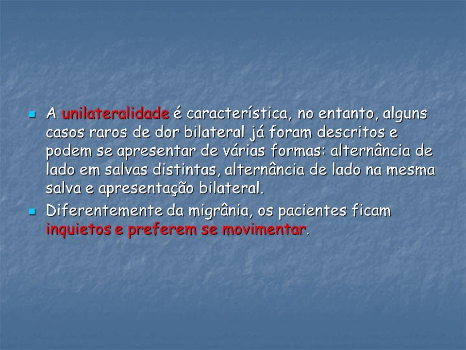 A unilateralidade é característica, no entanto, alguns casos raros de dor bilateral já foram descritos e podem se apresentar de várias formas: alternâ