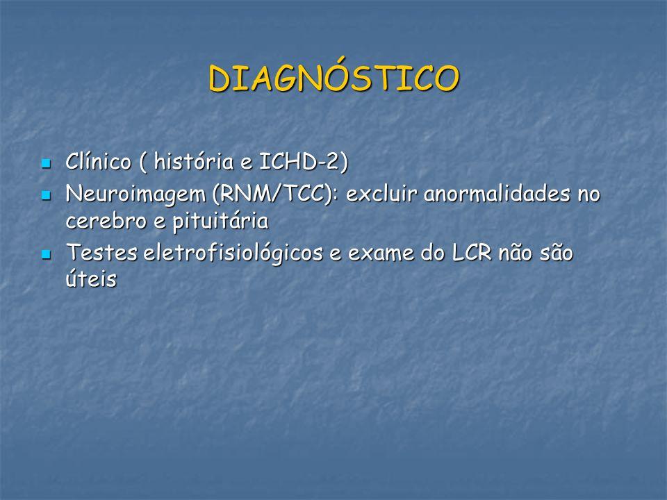DIAGNÓSTICO Clínico ( história e ICHD-2) Clínico ( história e ICHD-2) Neuroimagem (RNM/TCC): excluir anormalidades no cerebro e pituitária Neuroimagem