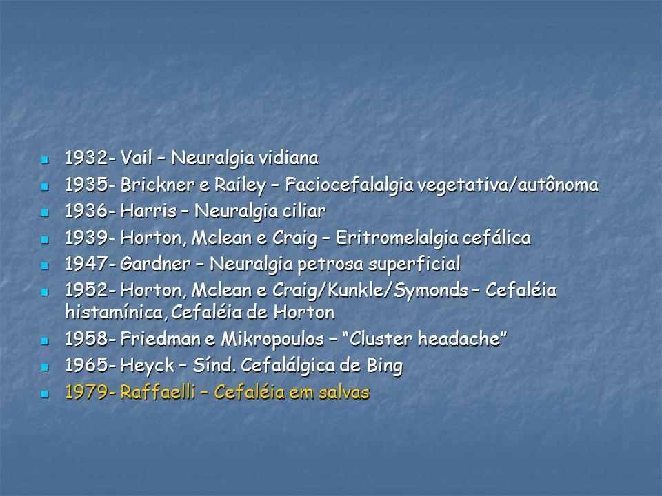1932- Vail – Neuralgia vidiana 1932- Vail – Neuralgia vidiana 1935- Brickner e Railey – Faciocefalalgia vegetativa/autônoma 1935- Brickner e Railey –