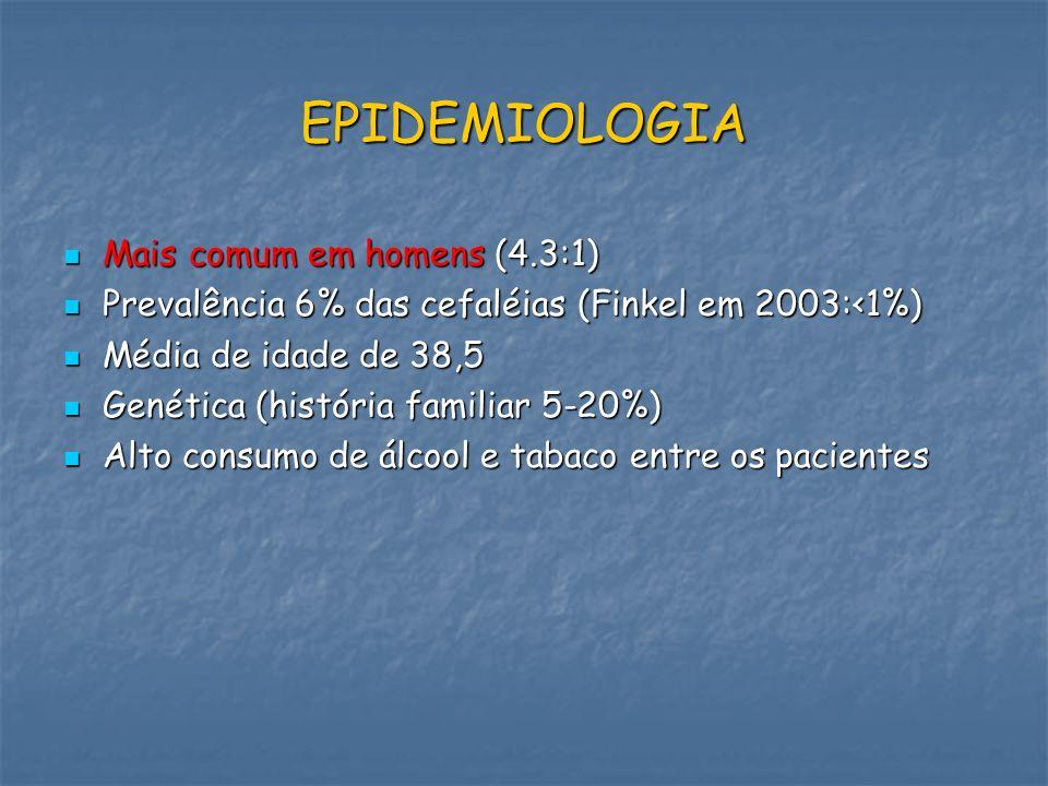 EPIDEMIOLOGIA Mais comum em homens (4.3:1) Mais comum em homens (4.3:1) Prevalência 6% das cefaléias (Finkel em 2003:<1%) Prevalência 6% das cefaléias
