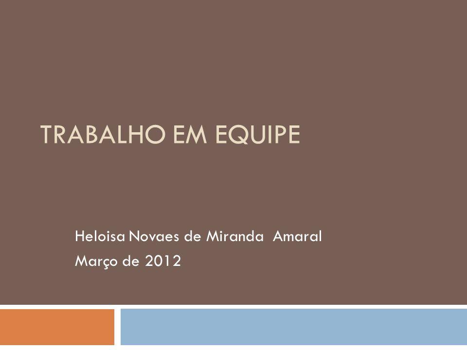 TRABALHO EM EQUIPE Heloisa Novaes de Miranda Amaral Março de 2012