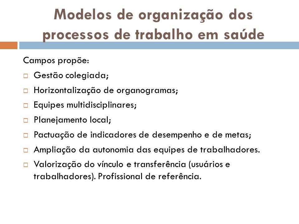 Modelos de organização dos processos de trabalho em saúde Campos propõe: Gestão colegiada; Horizontalização de organogramas; Equipes multidisciplinare