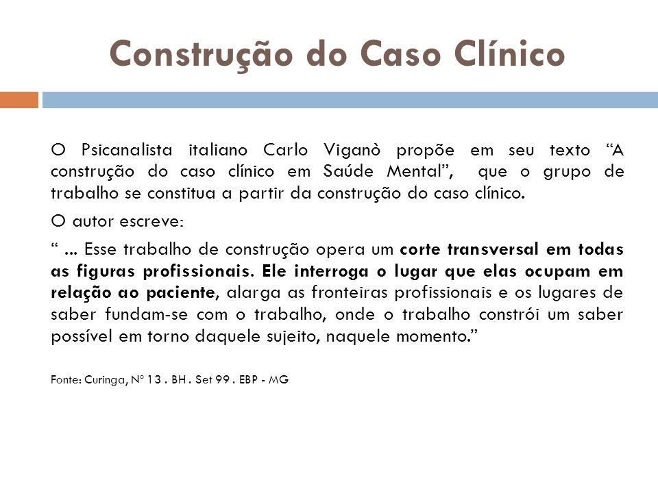 Construção do Caso Clínico O Psicanalista italiano Carlo Viganò propõe em seu texto A construção do caso clínico em Saúde Mental, que o grupo de traba