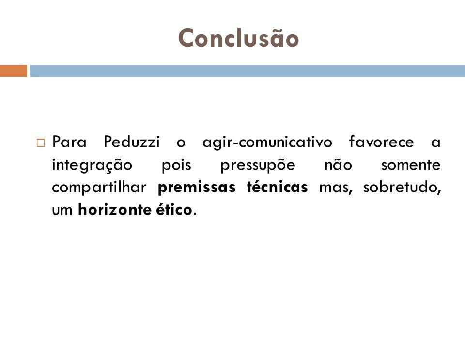Conclusão Para Peduzzi o agir-comunicativo favorece a integração pois pressupõe não somente compartilhar premissas técnicas mas, sobretudo, um horizon
