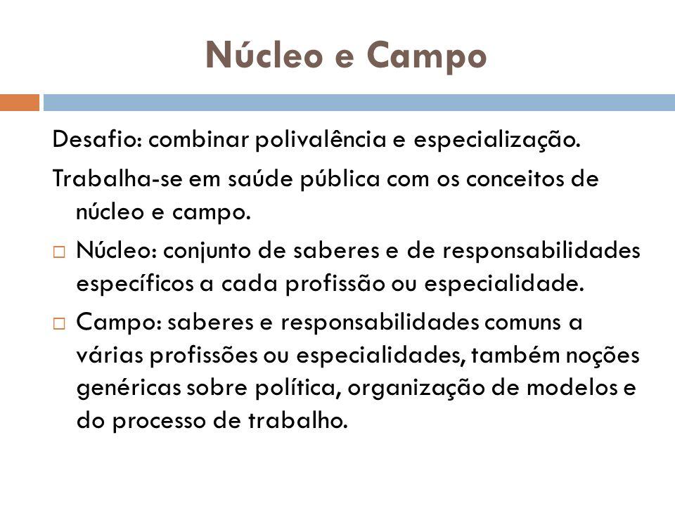 Núcleo e Campo Desafio: combinar polivalência e especialização. Trabalha-se em saúde pública com os conceitos de núcleo e campo. Núcleo: conjunto de s