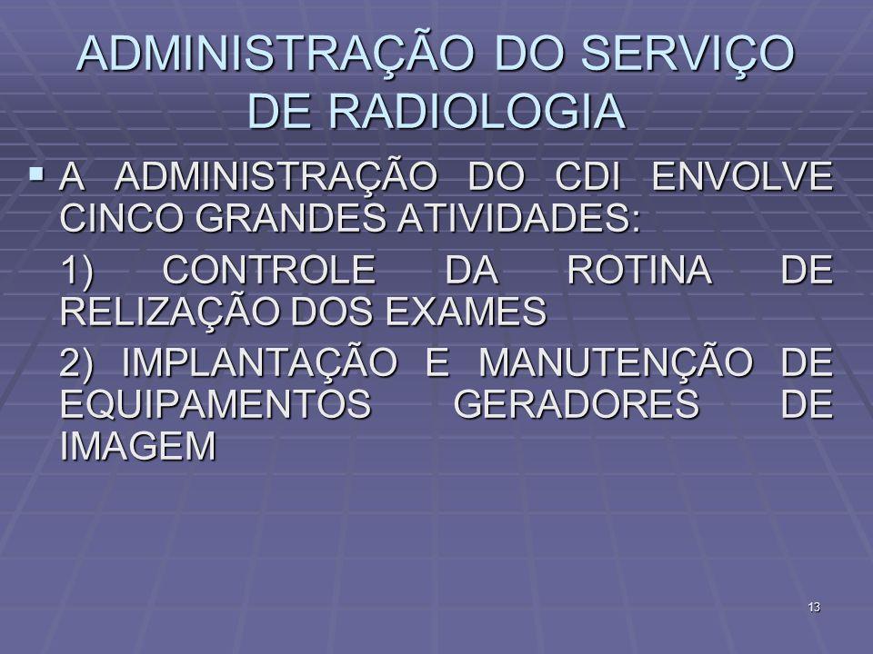13 ADMINISTRAÇÃO DO SERVIÇO DE RADIOLOGIA A ADMINISTRAÇÃO DO CDI ENVOLVE CINCO GRANDES ATIVIDADES: A ADMINISTRAÇÃO DO CDI ENVOLVE CINCO GRANDES ATIVID