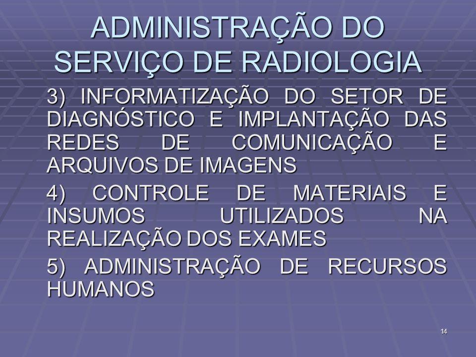 ADMINISTRAÇÃO DO SERVIÇO DE RADIOLOGIA 3) INFORMATIZAÇÃO DO SETOR DE DIAGNÓSTICO E IMPLANTAÇÃO DAS REDES DE COMUNICAÇÃO E ARQUIVOS DE IMAGENS 3) INFOR