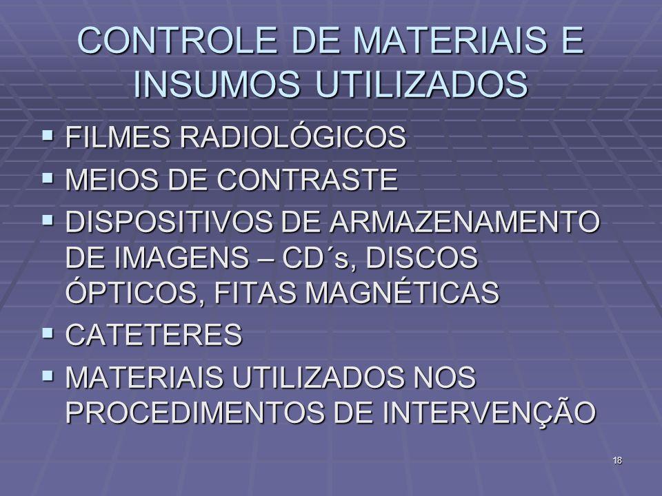 18 CONTROLE DE MATERIAIS E INSUMOS UTILIZADOS FILMES RADIOLÓGICOS FILMES RADIOLÓGICOS MEIOS DE CONTRASTE MEIOS DE CONTRASTE DISPOSITIVOS DE ARMAZENAME