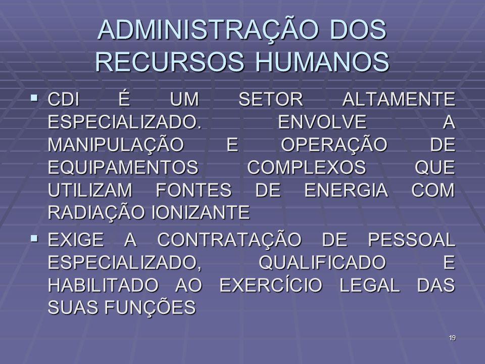 19 ADMINISTRAÇÃO DOS RECURSOS HUMANOS CDI É UM SETOR ALTAMENTE ESPECIALIZADO. ENVOLVE A MANIPULAÇÃO E OPERAÇÃO DE EQUIPAMENTOS COMPLEXOS QUE UTILIZAM